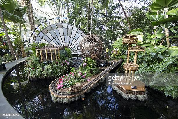 A view is seen from 24th 'Holiday Train Show' held at New York Botanical Garden in New York USA on December 10 2015 Different styles of operating...