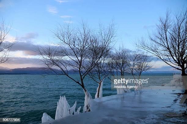 A view is seen from frozen 'Lake Egirdir' during cold winter time in Egirdir District of Turkey's southwestern Isparta Province on January 25 2016...