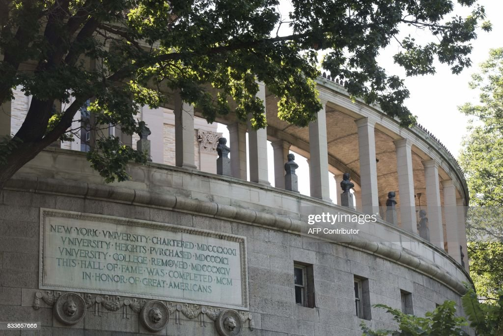 A view is seen of the Hall of Fame for Great Americans taken from outside Bronx Community College August 17, 2017 in New York. Bronx Community College President Thomas Isekenegbe released a statement August 16, 2017 announcing that the school will remove the busts of Robert E. Lee and Thomas Stonewall Jackson from the Hall of Fame For Great Americans on its campus. / AFP PHOTO / Don Emmert
