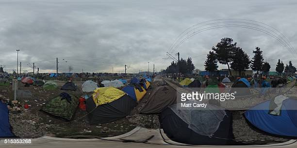 A 360 view is seen of the Idomeni refugee camp on the Greek Macedonia border on March 12 2016 in Idomeni Greece The decision by Macedonia to close...