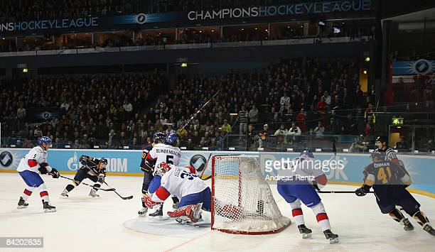 View is taken during the IIHF Champions Hockey League 2nd semi-final match between Espoo Blues and ZSC Lions Zurich at Lansi Auto Areena on January...