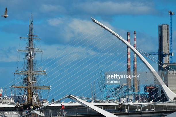A view Jeanie Johnston Tall Ship and Samuel Beckett's bridge in Dublin On Monday March 20 in Dublin Ireland