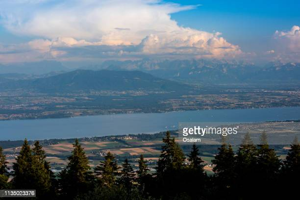 view lac leman lake from la dole mountain, switzerland - swaziland stock pictures, royalty-free photos & images