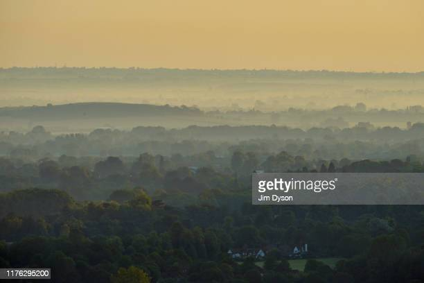 A view looking across the Hundreds of Aylesbury from Coombe Hill Buckinghamshire at sunrise on August 26 2019 in Ellesborough England