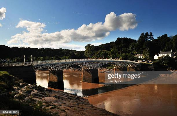 A view looking across the River Wye to the Old Wye Bridge to Gloucestershire England August 17 2014 in Chepstow Wales Construction on Chepstow Castle...