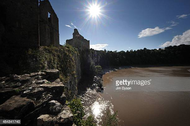 A view looking across the River Wye towards the clifftop ruins of the great tower at Chepstow Castle on August 17 2014 in Chepstow Wales Construction...