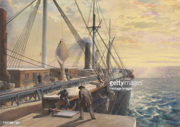 View Looking Aft from the Port Paddle Box of the Great Eastern Showing the Trough for the Cable etc 186566 Artist Robert Charles Dudley