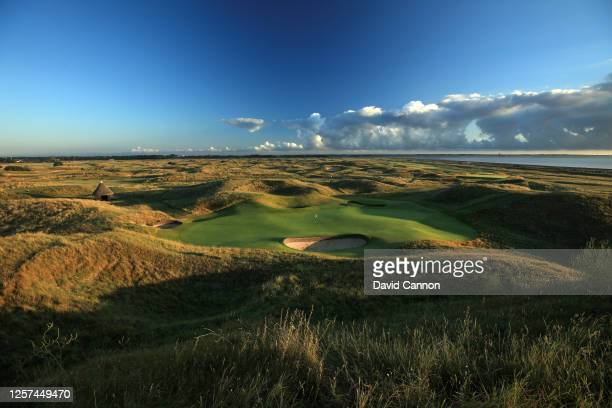 A view looking back to the tee of the par 3 sixth hole at the host venue for the 2021 Open Championship at The Royal St George's Golf Club on July 20...