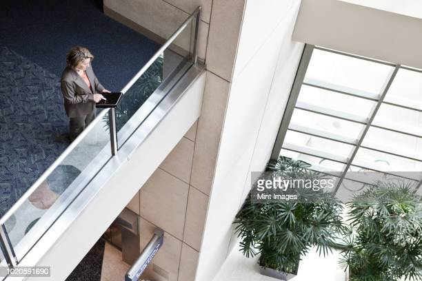 a view looking down on a businesswoman using a notebook computer while standing in the lobby of a convention centre. - mezzanine photos et images de collection