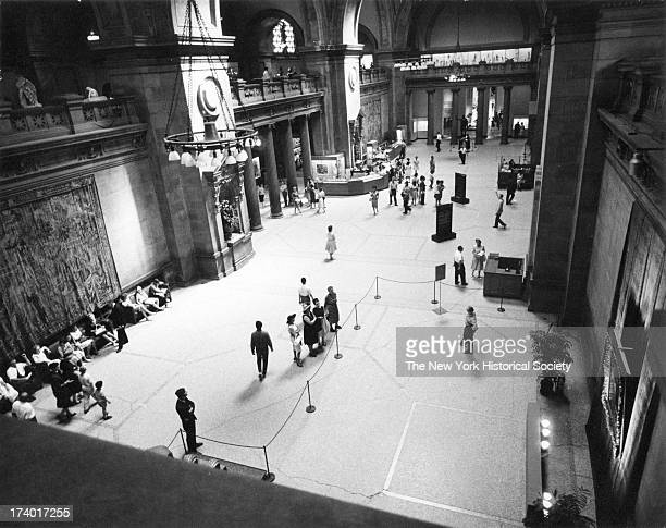 View looking down on the main entry and the Great Hall of the Metropolitan Museum of Art New York New York August 2 1962