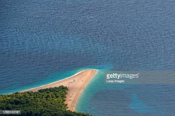View looking down on Zlatni Rat beach from Vidova Gora on Brac island.