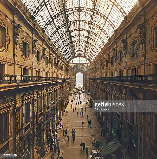 View looking down the Galleria Vittorio Emanuele II in Milan Italy 1960 Opened in 1890 the covered arcade is on the northern side of the Piazza del...