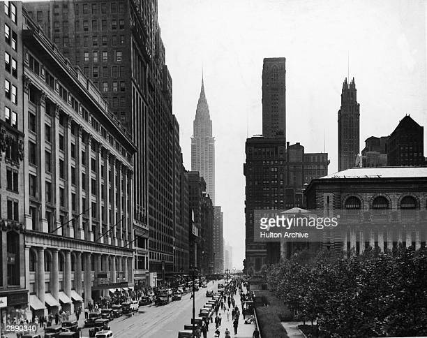 View looking east along West 42nd Street from 6th Ave New York New York circa 1930s The New York Public Library is visible at right and the...