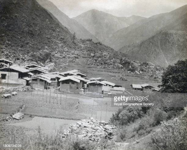 View looking east down the valley of the Kharta - Tsangpo towards Kharta. By C.K. Howard-Bury. Mount Everest Expedition 1921.