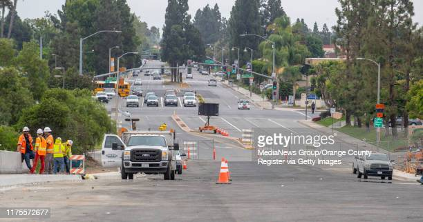 View looking east from the new Slater Avenue bridge over the 405 freeway in Fountain Valley on Wednesday, August 28, 2019. The bridge is scheduled to...