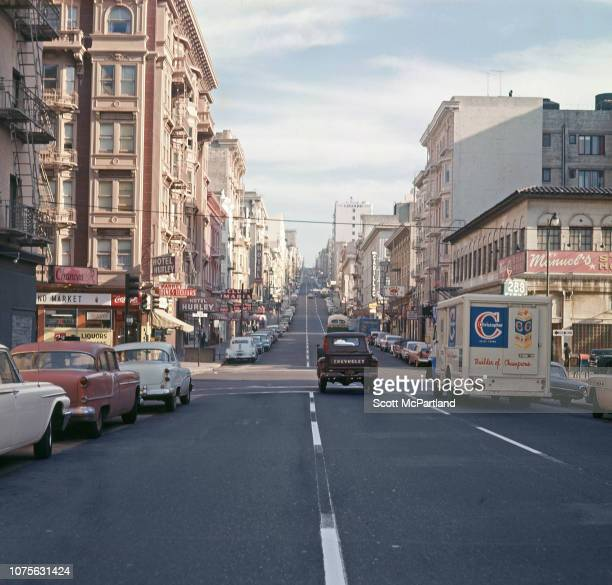 View looking north along Leavenworth Street in the Tenderloin district San Francisco California August 1963