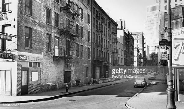 View looking north along Moore Street New York New York January 22 1964 The blocks on either side of Moore up to Water Street were demolished to make...