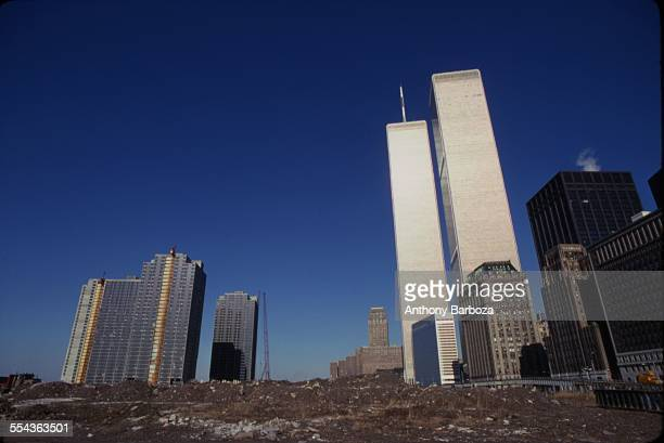 View looking north towards the World Trade Center from an undeveloped tract of land New York New York 1980s The area was largely devolped as Battery...
