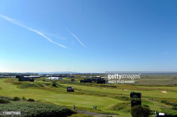 A view looking out over the course in the afternoon sunshine during a practice session at The 148th Open golf Championship at Royal Portrush golf...