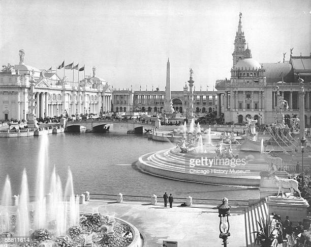 View looking south across the west end of the Great Basin at the Chicago World's Columbian Exposition or Chicago World's Fair 1893