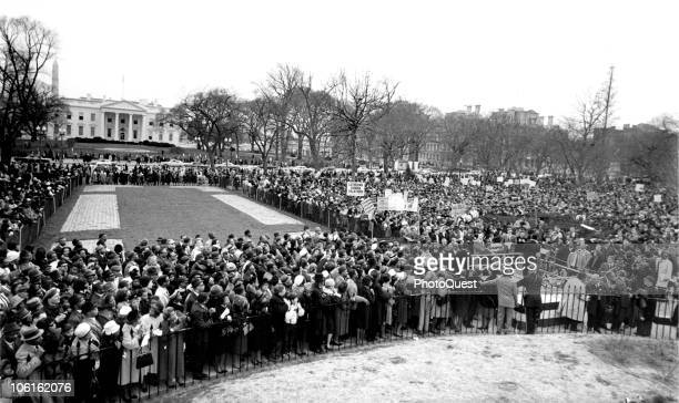 View looking south from Lafayette Square where thousands of Civil Rights demonstrators gathered to protest the violence met by Alabama voting rights...