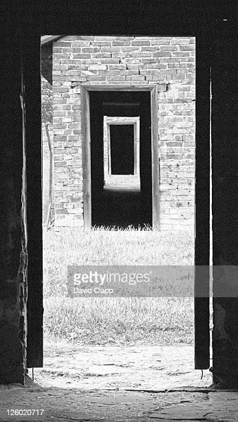 view looking through three prisoner blocks, auschwitz, poland - birkenau stock pictures, royalty-free photos & images