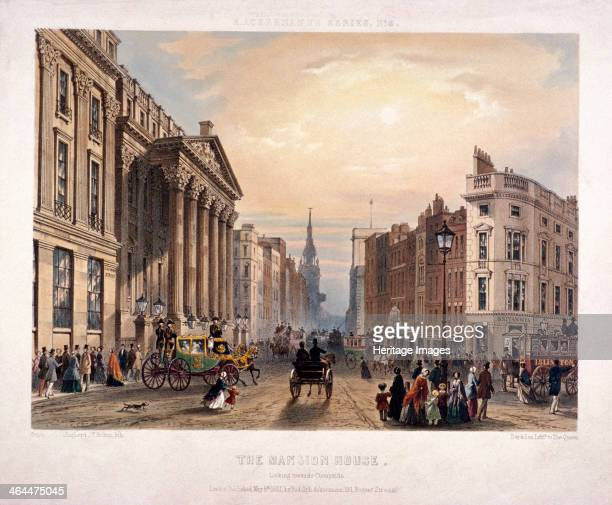 View looking towards Cheapside London with the Mansion House on the left 1851 also showing figures and vehicles in the road