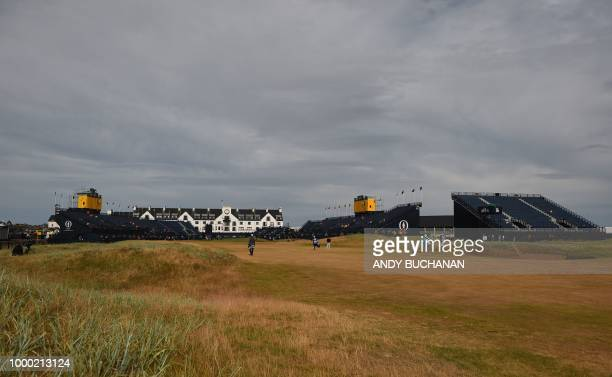 A view looking towards the clubhouse on the 18th hole during a practice session at The 147th Open golf Championship at Carnoustie Scotland on July 16...