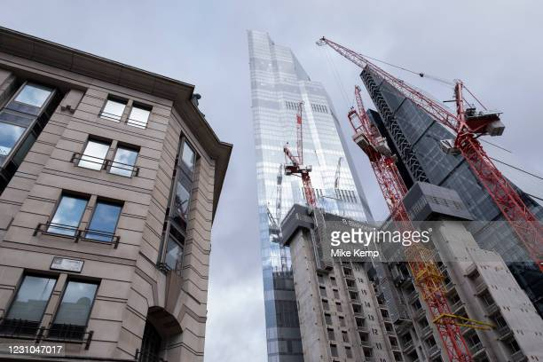 View looking up at the construction site for the latest skyscraper in the City of London at 8 Bishopsgate on 29th January 2021 in London, United...