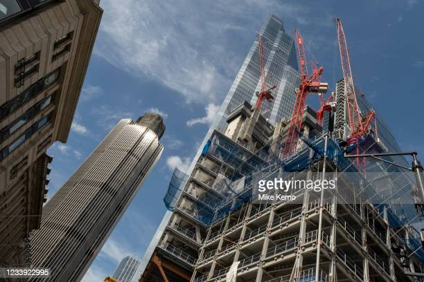 View looking up at the construction site for the latest skyscraper in the City of London at 8 Bishopsgate near to Tower 42, once the Nat West Tower...