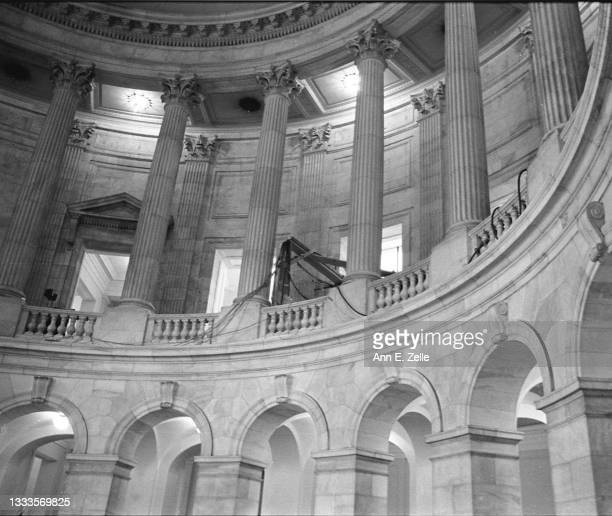 View, looking up, at the rotunda of the Russell Senate Office Building, Washington DC, October 3, 1973. The visible wiring was being used for the...
