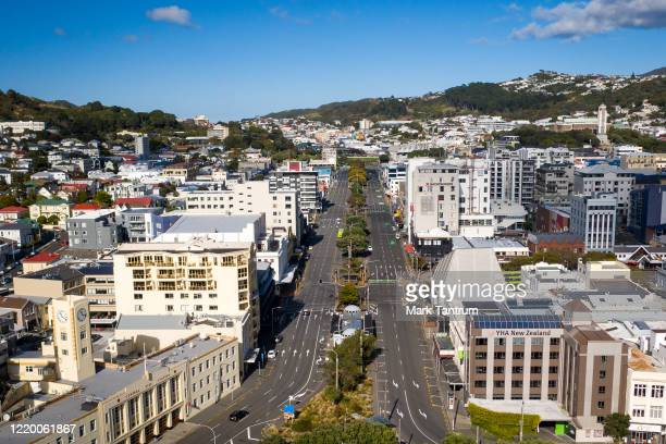View looking up Kent and Cambridge Terrances from Waitangi Park during level 4 lockdown on April 21, 2020 in Wellington, New Zealand. New Zealand...
