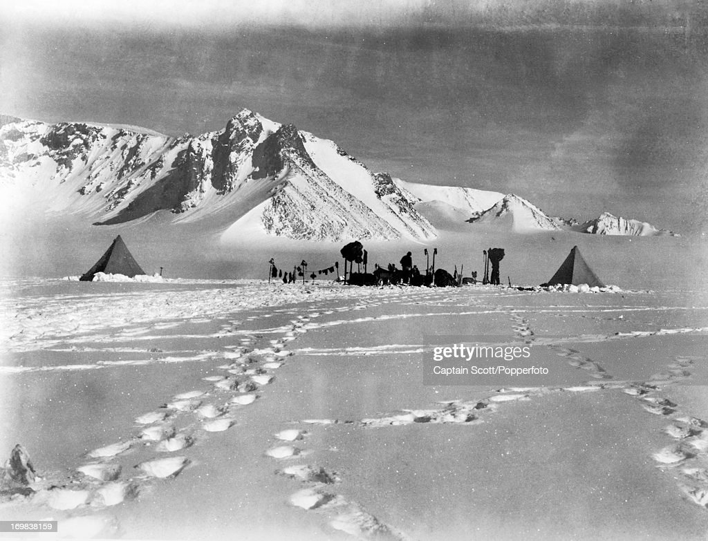 A view looking up the Gateway from Shambles, Camp 31, on the Great Ice Barrier photographed during the last, tragic voyage to Antarctica by Captain Robert Falcon Scott on 9th December 1911. Scott was tutored by Herbert Ponting, the renowned photographer who was the camera artist to the expedition, which enabled Scott to take his own memorable pictures before perishing on his return from the South Pole on or after 29th March 1912.