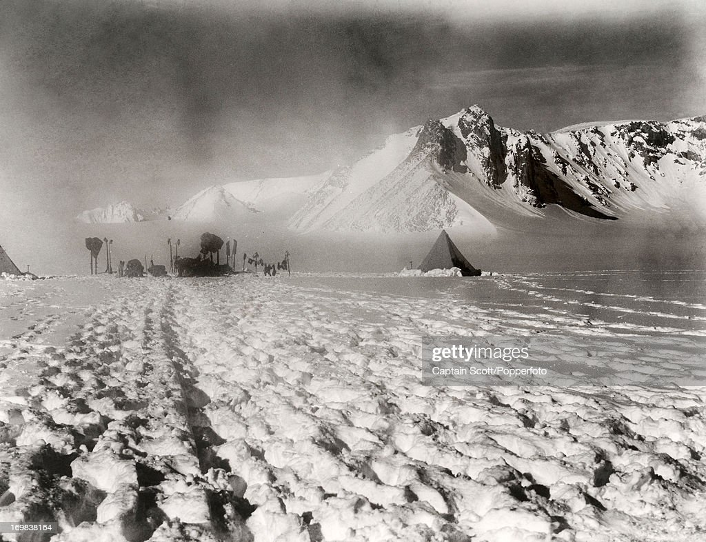 A view looking up the Gateway from Shambles Camp, Camp 31, on the Great Ice Barrier photographed during the last, tragic voyage to Antarctica by Captain Robert Falcon Scott, on 9th December 1911. Scott was tutored by Herbert Ponting, the renowned photographer who was the camera artist to the expedition, which enabled Scott to take his own memorable pictures before perishing on his return from the South Pole on or after 29th March 1912.