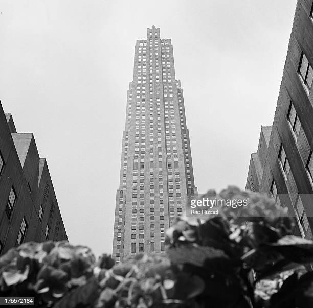 View looking up towards the Rockefeller Center building, New York, New York, 1948.