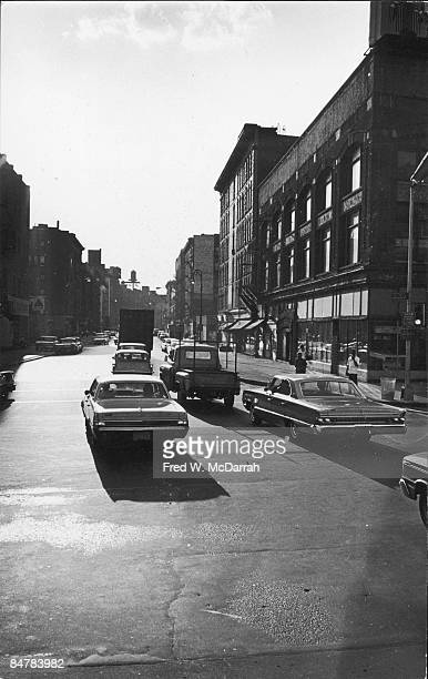 View looking west along Kenmare Street from the intersection at Bowery New York May 23 1965