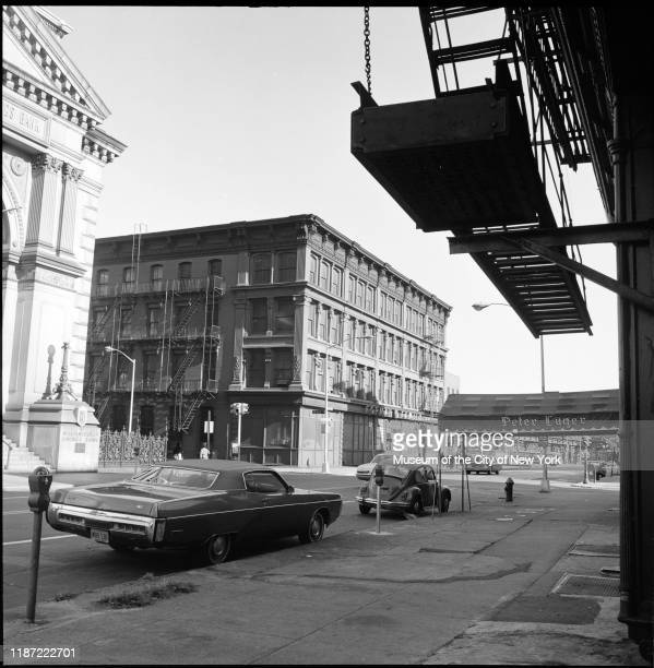 View looking west on Broadway to 195 Broadway Brooklyn New York New York circa 1975 It was originally the Sparrow Shoe factory warehouse Visible on...