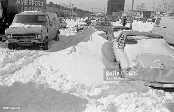 View, looking west on Queens Boulevard , of stranded vehicles in the aftermath of a blizzard, in the Rego Park neighborhood, Queens, New York, New...