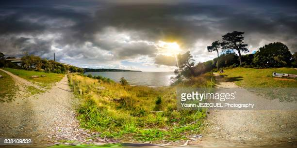 360° view nature scenery in front of the sea - 全天周パノラマ ストックフォトと画像