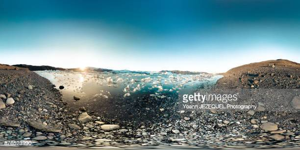 360° View nature scenery of ökulsárlón Glacier Lagoon in Iceland