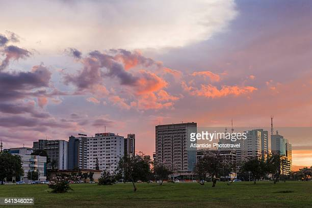 view near the brasilia tv tower at the sunset - distrito federal brasilia stock pictures, royalty-free photos & images