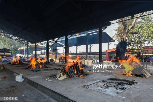 View Nigambodh Ghat crematorium during the cremation of multiple Covid-19 victims, on April 21, 2021 in New Delhi, India.
