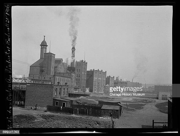 View north from the Ogden Avenue viaduct at Rockwell Street of Standard Brewery Chicago Illinois 1906