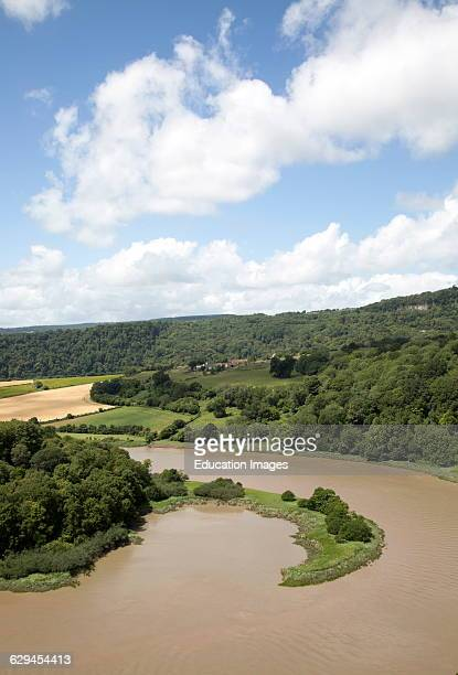 View north towards Lancaut over incised meander, gorge and river spit, River Wye, near Chepstow, Monmouthshire, Wales, UK.