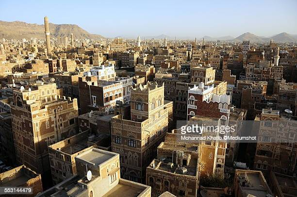 view od sana'a, yemen - yemen stock pictures, royalty-free photos & images