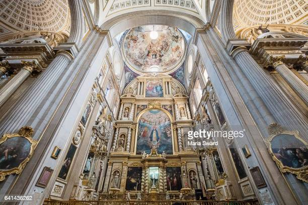 view of 17th-century baroque paintings in the cathedral of puebla in puebla, mexico - puebla mexico stock pictures, royalty-free photos & images