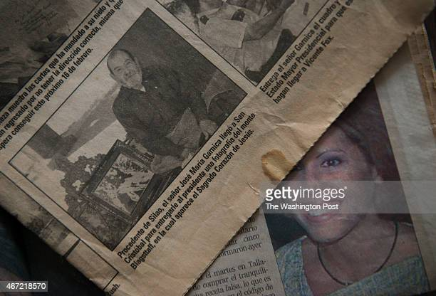 View of 2001 El Heraldo newspaper clippings announcing that Jose Maria Garnica Rodriguez had his photo taken for an article about him meeting then...