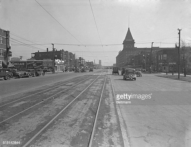 View of 22nd Street in Cicero Illinois looking east from 49th street Western Electric Company plant at the right