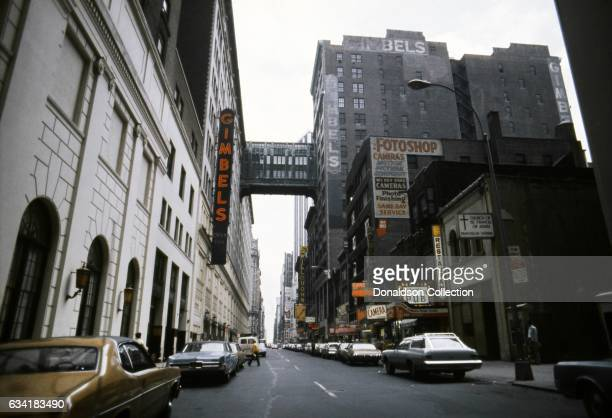 A view of 32nd Street and Gimbles department store and the Gimbels traverse overhead in the Herald Square area in1976 in New York City New York