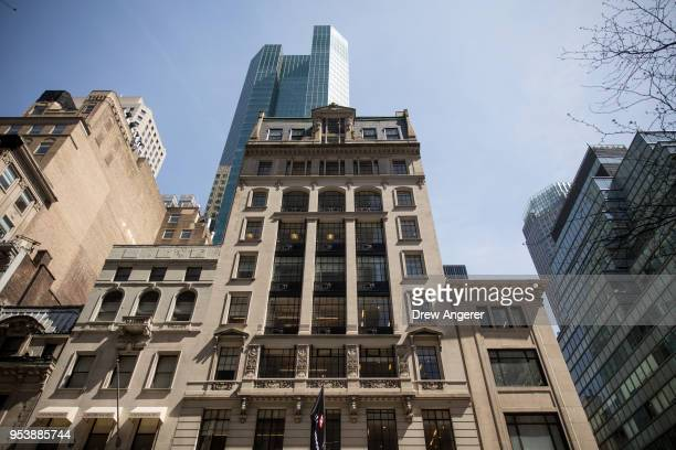 View of 597 5th Avenue, where the New York City office of Cambridge Analytica is on the 7th floor, May 2, 2018 in New York City. The data firm...